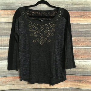 Miss me embellished lace knit top